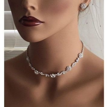 Flower Crystal Bridal Backdrop Choker Jewelry Set