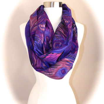 Purple peacock infinity scarf/peacock infinity scarf