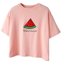 Cute Embroidery Watermelon Drop Shoulder Tee - OASAP.com
