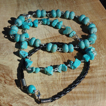 Men's Turquoise Bracelet Set ~ Unisex Turquoise Howlite Bracelet ~ Stone Jewellery ~ Stackable Bracelets ~ Leather Bracelet ~ Men's Gift