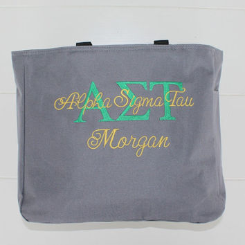 Sorority Tote Bag Greek Life Custom Embroidery by Bloomingdeals