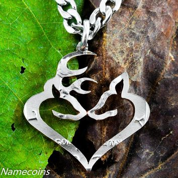 Heart Necklace, Buck and Doe Kissing Half Dollar, Hand Cut Coin by Namecoins
