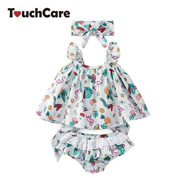 Touchcare 3 Pcs Baby Clothing Set Bow Headband Flying Sleeve Backless Bow Tie Baby Girl Dress Lace Ruffle Baby Diaper Pants