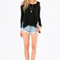 Cut Out Shoulder And Back Asymmetrical Long Sleeve Tee