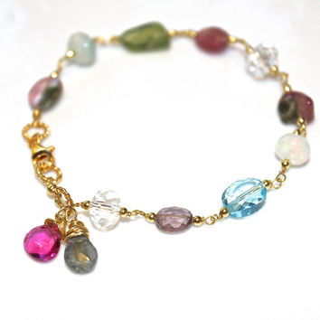 Gemstone Bracelet Rainbow Bracelet Watermelon Tourmaline Slice Gemstone Jewelry Topaz Bracelet Holiday Jewelry Womans Gift Handmade Jewelry