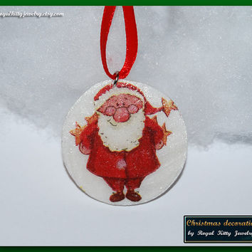 Christmas decoration,  handmade Christmas decoration, decoupage decoration, Christmas Ornament, Christmas Gift.
