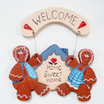 Hand Painted Gingerbread Couple Welcome Home Sweet Home Sign