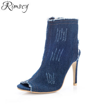 Rimocy vintage blue demin peep toe women pumps summer autumn sexy ladies 10cm high heels ankle boots jean gladitor shoes sandals