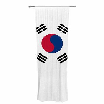 "Bruce Stanfield ""Flag of Korea"" White Digital Decorative Sheer Curtain"