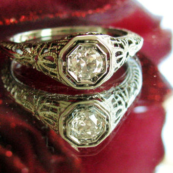 Antique Engagement Ring Old European Cut Diamond Art Deco 18K White Gold Filigree GIA Graduate Gemologist Appraisal!