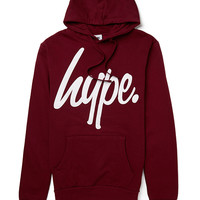 Hype. Burgandy Hoodie with White Script