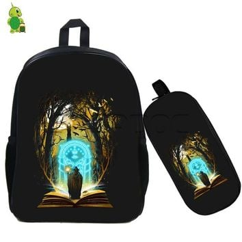 Girls bookbag Famous Magical Rings LOTR Outline Printing Backpack 2 Pcs/set School Bags for Teenagers Girls Boys Bookbags Casual Notebook Bags AT_52_3