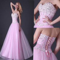 Pink Cocktail Prom Gowns Evening Ball Long Dress US Size 2 4 6 8 10 12 14 16