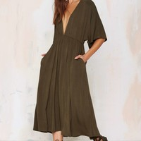 Spin Me Round Plunging Knit Dress