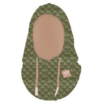 Quilted Hood FaceMask Green & Latte
