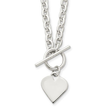 Sterling Silver Engraveable Heart Toggle Necklace QG2532