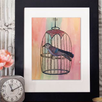 Watercolor bird, Whimsical art, Birdcage painting, Nursery Art, Boho painting, Vintage theme art, pen and ink painting, shabby chic look