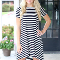 Stripe  Hi-Low Dress - Black and Ivory