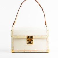 "Louis Vuitton Cream Gold Toned Suhali Leather Studded ""L'Aimable"" Bag"