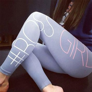 DCCKHTG Cotton Grey and Pink BOSS Print Workout Leggings
