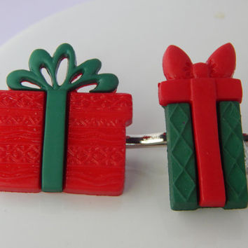 Present Bobby Pins, Christmas birthday gift hair accessories for holiday parties - stocking stuffer, party favor, red or green hair pins