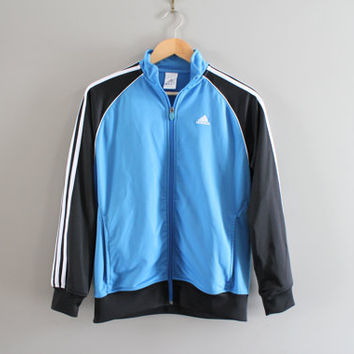US Free Shipping Adidas Zip Up Sweatshirt Adidas Bomber Jacket 3 Strips Hipster Activewear Vintage Minimalist 90s Size Youth Large #T106A