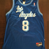 RARE Vintage Throwback Kobe Bryant Anniversary Jersey Los Angeles Lakers Blue 80s 90s