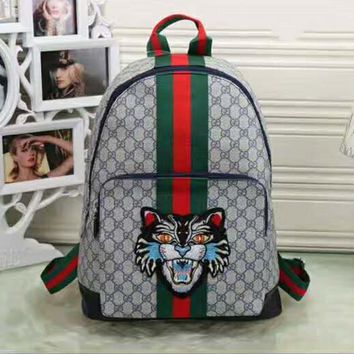 Gucci Women Fashion Leather Tiger Print School Bookbag Backpack G-LLBPFSH-1