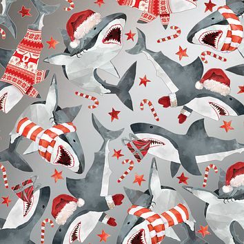 Bulk Ream Roll Christmas Gift Wrap Wrapping Paper, Sharks