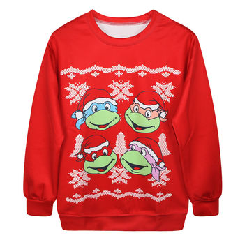 Round-neck Christmas Stylish Print Tops Ugly Christmas Sweater Hoodies [9440724164]