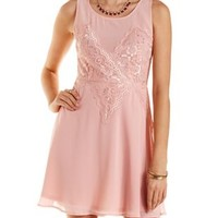 Peach Lace-Trim Crepe Skater Dress by Charlotte Russe