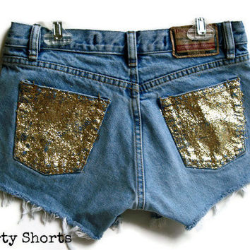 Glitter Pocket Shorts High Waisted Custom Made by shortyshorts