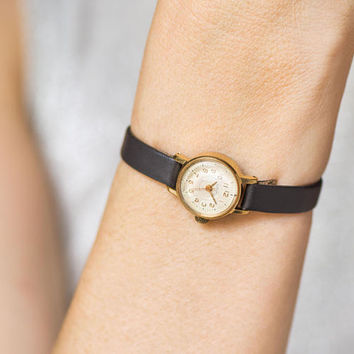 Rare women's watch Dream, gold plated lady watch small, retro lady's watch gift, unique woman watch 60s petite, premium leather strap new