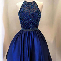 A Line Round Neck Short Navy Blue Prom Dress, Short Navy Blue Graduation Dresses, Homecoming Dresses