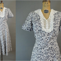 1940s Dress Liberty of London Floral Cotton, 36 bust, Vintage 40s Flowers and Paisley Cotton Day dress
