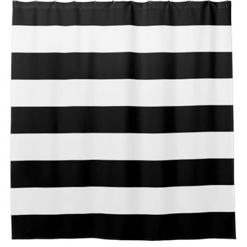 Shop Black And White Striped Shower Curtain On Wanelo