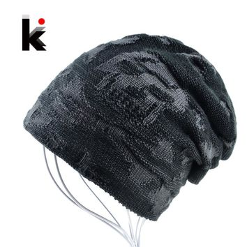 Mens skull hat winter skullies knitted wool hat plus velvet hip hop cap thicker bonnet beanie stocking hats for men touca