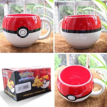 For Pokemon 3D Figural Ceramic Mug Coffee Cup W/ Box Xmas Gifts For Fans Boy (Color: Red & White)