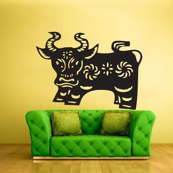 Wall Vinyl Decal Sticker Bedroom Kids Decal Kids Baby Chineese Decal Cow Bull  z378