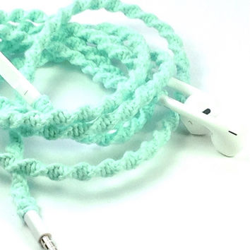 Wrapped EarPods - Tangle Free Earbuds - Mint Julep