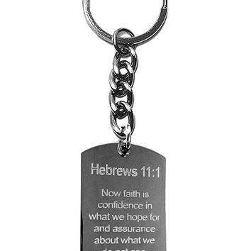 Hebrews 11:1 Bible Verse Metal Ring Key Chain Keychain