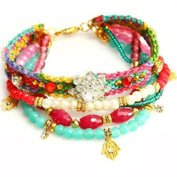Made to Order /OOAK Ruby Jade,Swarovski,Hamsa Charm,Bohemian indian Boho Chic Gypsy Hippie Multiple Strands Friendship Bracelet Set Of 5