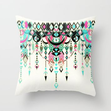 Modern Deco in Pink and Turquoise Throw Pillow by Micklyn | Society6