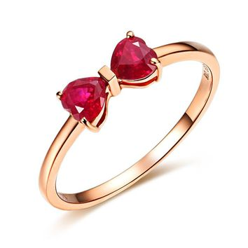 18K Rose Gold Plated Red Ruby Ring Real 925 Sterling Silver Gemstone Rings for Women Butterfly Flower Love Fine Jewelry Wedding