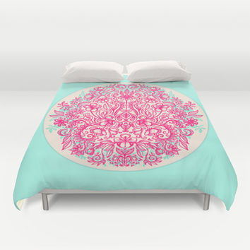 Spring Arrangement - floral doodle in pink & mint Duvet Cover by micklyn | Society6