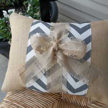 Gray Chevron Band on Natural burlap Pillow with burlap tie, throw pillow, rustic pillow, decorative pillow
