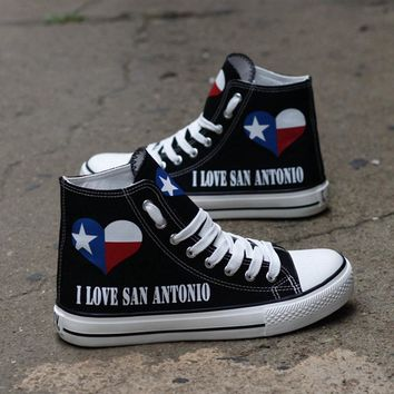 I Love San Antonio Low Top Canvas Shoes Custom Printed Sneakers