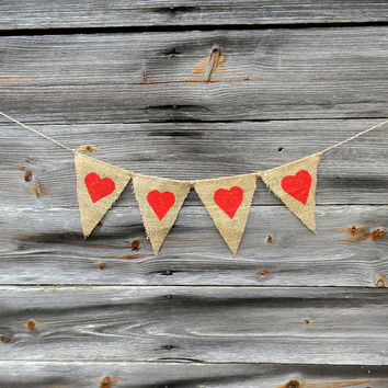 Burlap Banner, Hearts Garland - Queen of Hearts Alice in Wonderland Theme Banner, Wedding, Valentines Day Photo Prop Banner