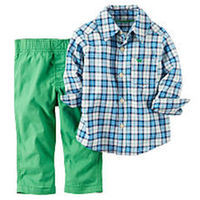 Carter's Boys 2 Piece White/Navy Plaid Long Sleeve Woven Button Down Poplin Shirt and Green Khaki Canvas Pant Set