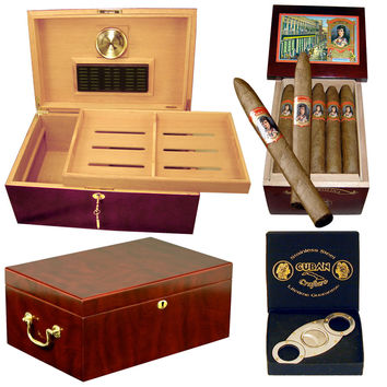 Combo Captain Humidor Cigars and Cutter